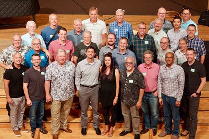 gathering of Elders welcoming Dave & Kelly Zuleger and Tim Fredin to new ministry roles
